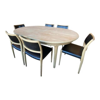 Møller Expandable Dining Table and Six Chair Set, Denmark - Set of 7 For Sale