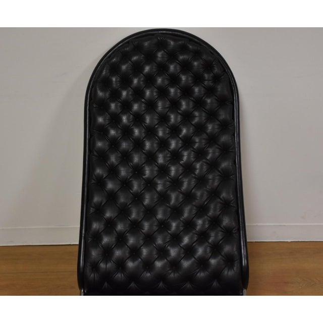 Verner Panton Black Leather Chaise Lounge For Sale - Image 5 of 11