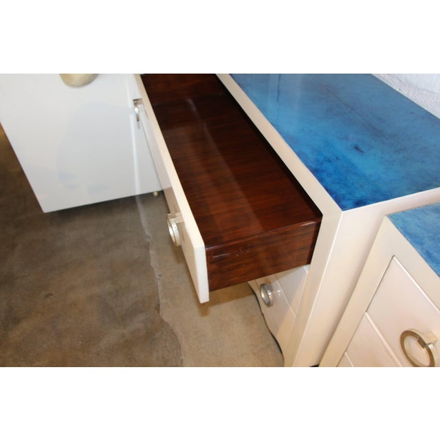 Goat Skin Parchment Covered Three-Drawer Stands - a Pair For Sale - Image 4 of 10