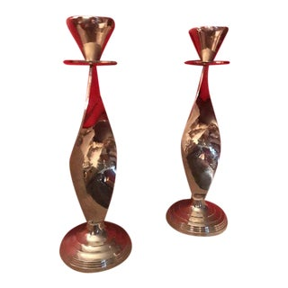 1970s Mid-Century Modern Italian Silver Plated Candlestick Holders - a Pair For Sale