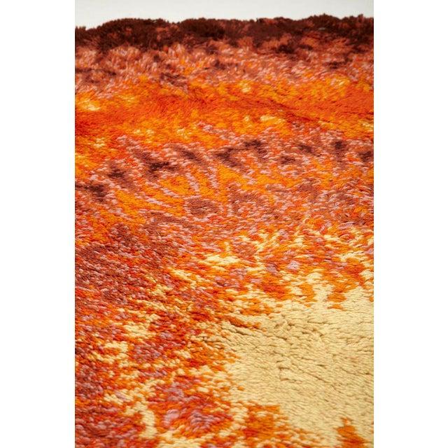 Scandinavian Wool carpet, pattern of orange and brown rings . Sixties 'Pop Art' design.