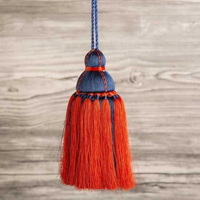 Traditional Navy & Orange Tassel, Small For Sale - Image 3 of 3