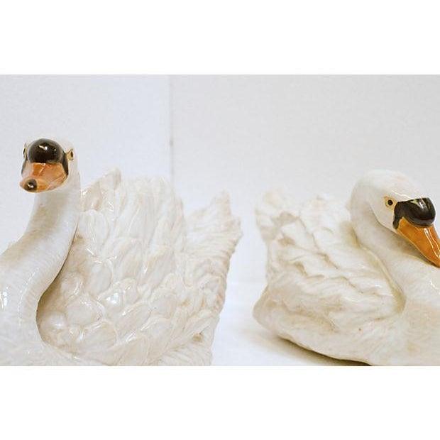 Glazed Ceramic Swans - A Pair - Image 3 of 6
