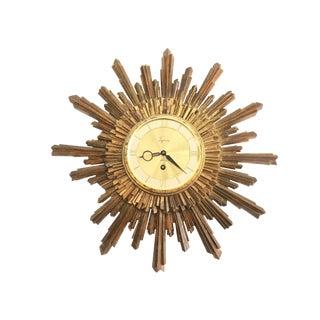 Mid Century Syroco Sunburst Wall Clock