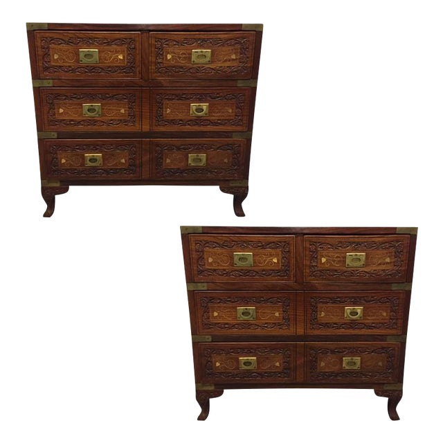 Pair of Vintage Mahogany and Brass Inlay Campaign Chests For Sale