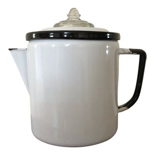 Final Price! Early 20th Century Vintage White Enamel Coffee Pot For Sale