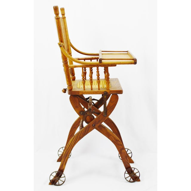 Antique Adjustable Child's High Chair and Stroller Combination- Cane Seat -  Image 5 of 10 - Antique Adjustable Child's High Chair And Stroller Combination- Cane