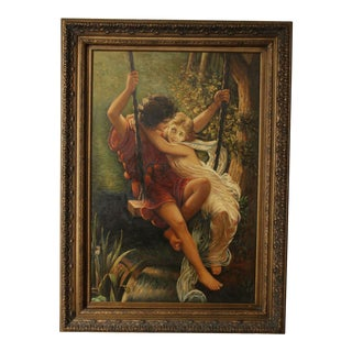 "The Swing ""Springtime"" Hand Painted Oil on Canvas, Reproduction after Pierre Auguste Cot For Sale"