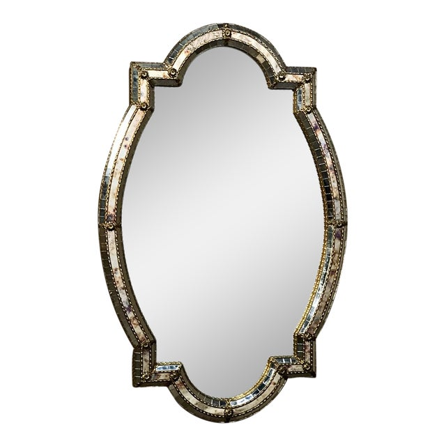 Mid-Century Venetian Style Mirror With Gilt Brass Accents For Sale
