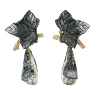 Francoise Montague Paris Gray Resin Talosel Leaf and Drop Clip on Earrings - Set of 2 For Sale