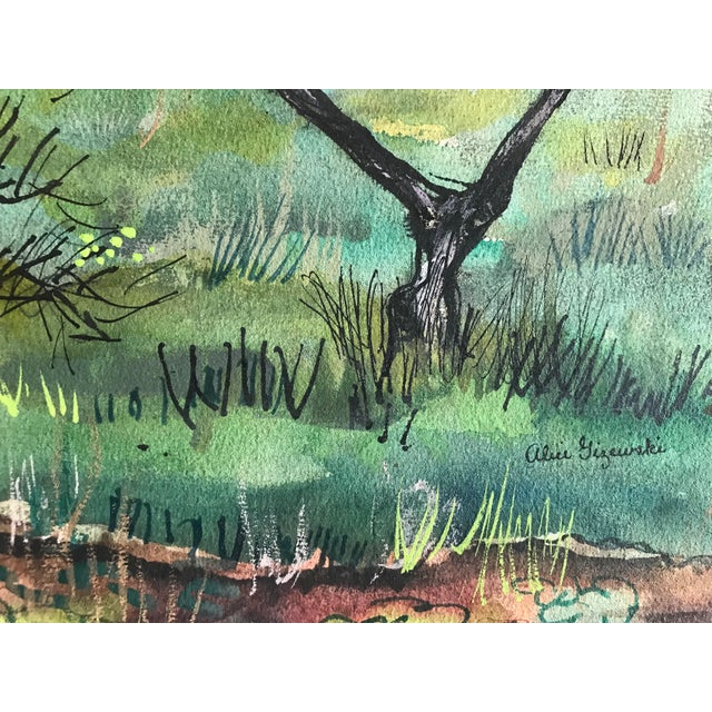Contemporary 1955 Mid-Century Modern Original Watercolor Painting of Bottle Tree Landscape, by Alice Gizewski For Sale - Image 3 of 4