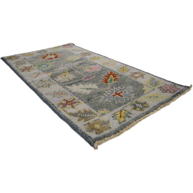 Contemporary Contemporary Modern Colors Oushak Scatter Rug - 2′1″ × 3′11″ For Sale - Image 3 of 6