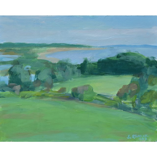 """Green Contemporary """"Surf N Turf"""" Plein Air Painting by Stephen Remick For Sale - Image 8 of 8"""