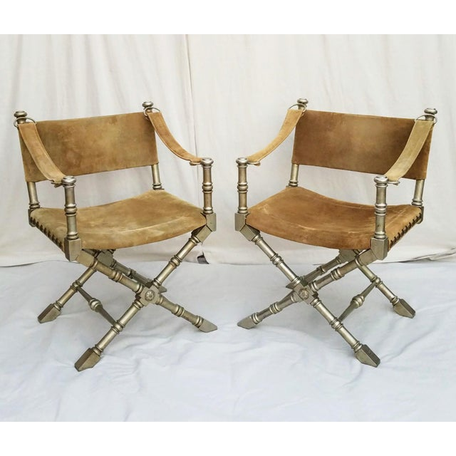 1950's Vintage Drexel Burnished Brass & Faux Bamboo and Suede Safari Style Chairs- a Pair For Sale - Image 9 of 9