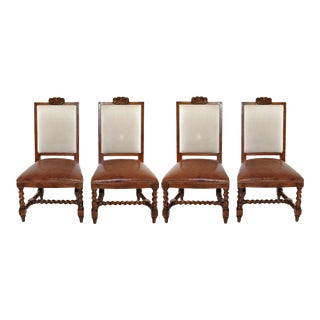 Ralph Lauren Spanish Colonial Mahogany Leather Dining Chairs - Set of 4 For Sale