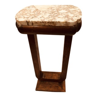 20th Century French Oak Carved Marble Top Accent Table For Sale