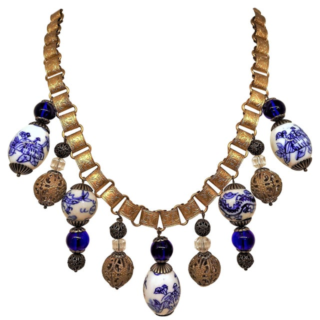Chinese Blue and White Porcelain Bead and Brass Bookchain Necklace For Sale - Image 9 of 9