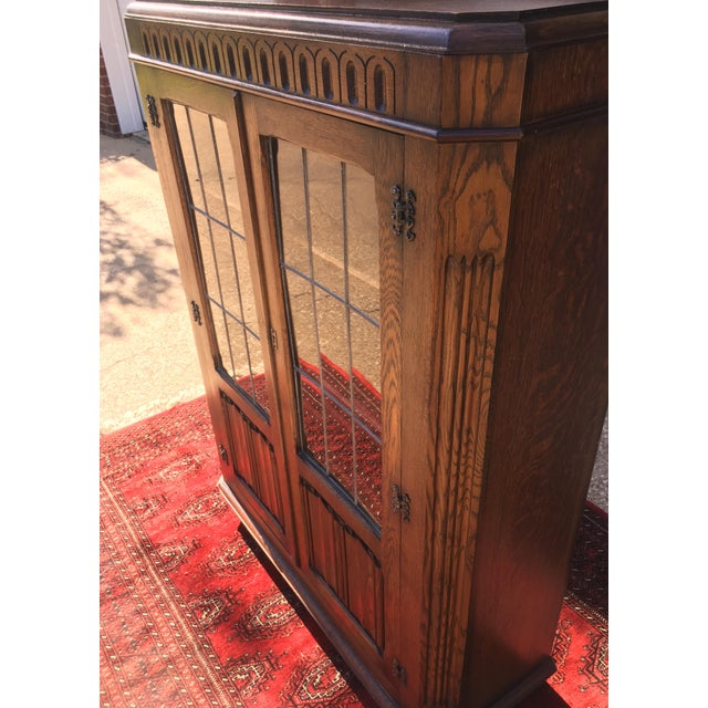 Glass Mid-Century Carved Oak Leaded Glass Bookcase For Sale - Image 7 of 10