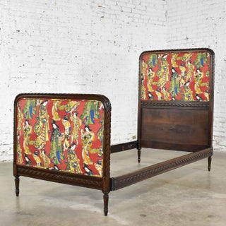 Antique French Carved Walnut and Upholstered Twin Bed With Asian Figural Fabric Preview