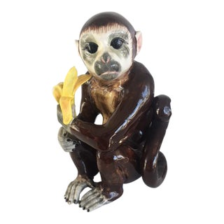 Large Monkey With Banana Statue For Sale