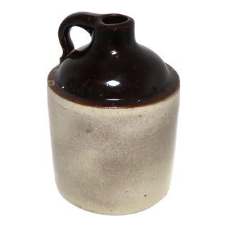 Small Size Antique Early American Stoneware Spirits Jug For Sale
