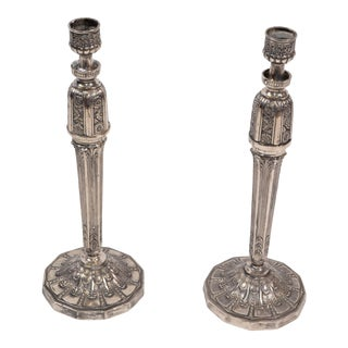 George III Silver Plated Heavy Candelabras, Candle Holders, Candlesticks - Pair For Sale
