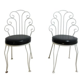 Mid-Century Scrolled Metal Outdoor Side Chairs - A Pair