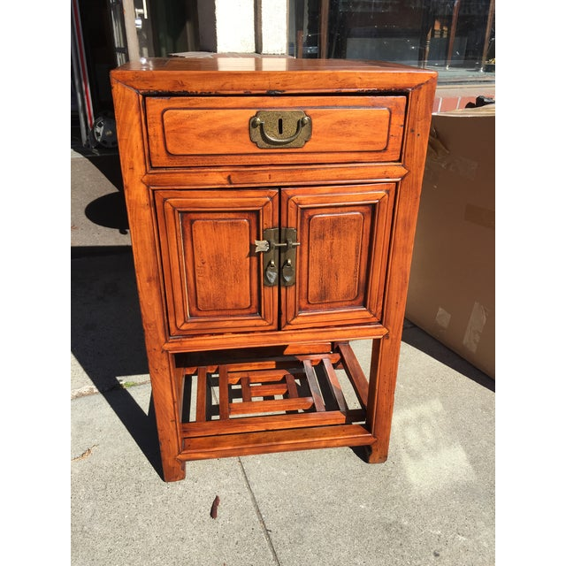 Chinese Elm Wood Cabinet with Shelf For Sale In San Francisco - Image 6 of 6