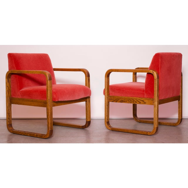 1970s Mid-Century Modern Crimson Mohair Accent Chairs - a Pair For Sale - Image 13 of 13