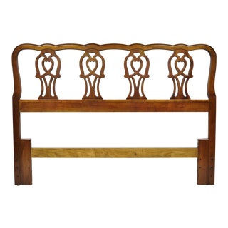Vintage Chippendale Thomasville Cherry Wood Queen Full Bed Headboard For Sale