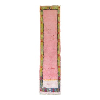 Bubble Gum Pink 20th Century Turkish Shag Runner, 2'3'' X 9'6'' For Sale