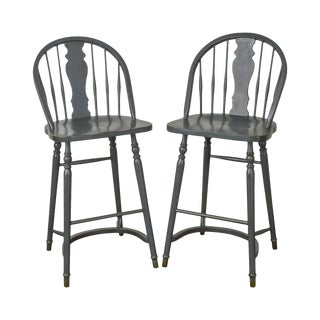 Country Style Pair of Blue Painted Bar Stools For Sale