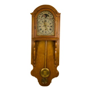 English Oak Carved Moon Motif Wall Clock For Sale