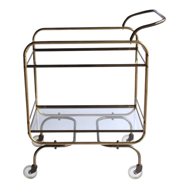 Vintage Mid Century Brass Bar Cart For Sale