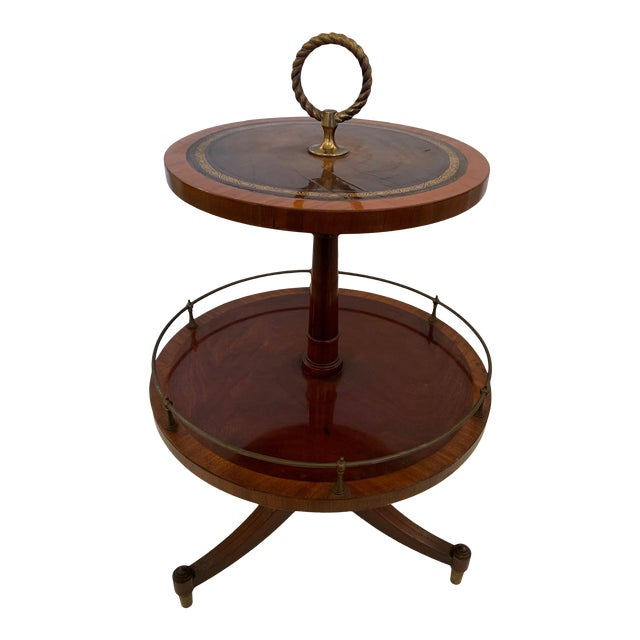 Antique 2 Tier Mahogany and Tooled Leather Side Table For Sale