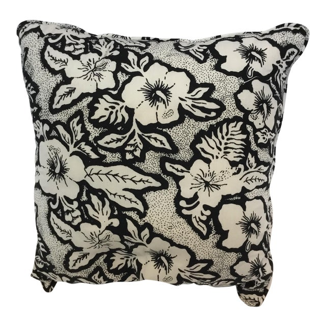 Black and White Floral Cotton Balinese Pillow For Sale