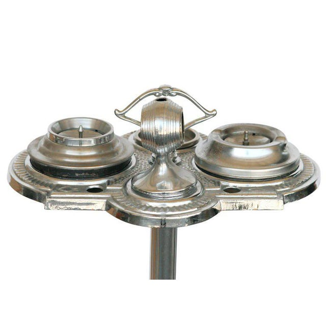 Art Deco Chrome Art Deco Two Tier Ashtray Stand With Electric Lighter - 50th Anniversary Sale For Sale - Image 3 of 6