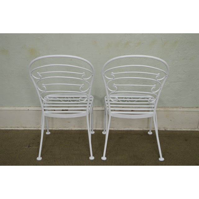 Woodard Furniture Co. Woodard Set of 4 White Painted Scrolled Iron Patio Dining Chairs For Sale - Image 4 of 10