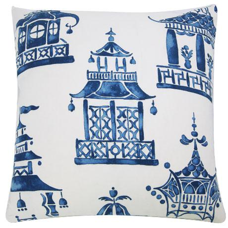This is a blue and white pillow cover patterned with Ming pagodas. The design is printed on a quality cotton ground. This...