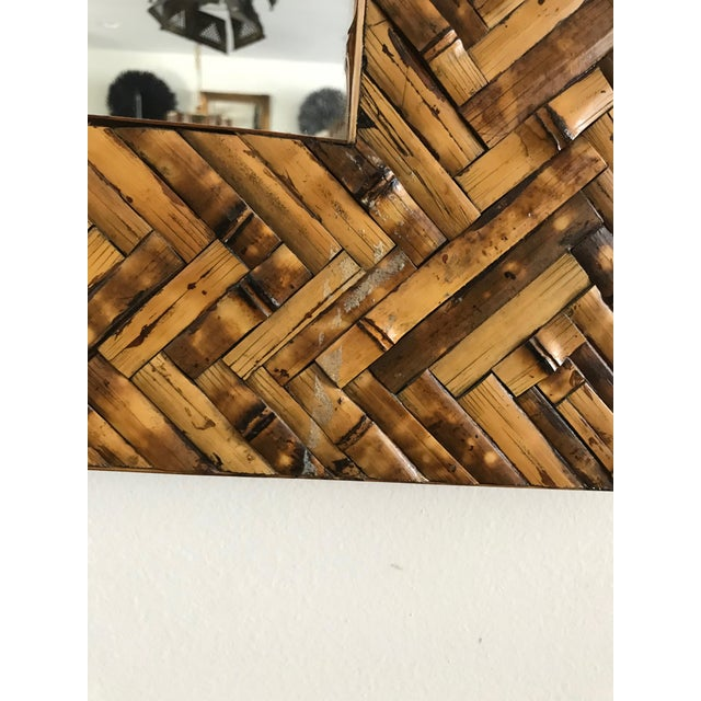 Mid Century Herringbone Pattern Woven Rattan/Bamboo Wall Mirror For Sale - Image 4 of 7