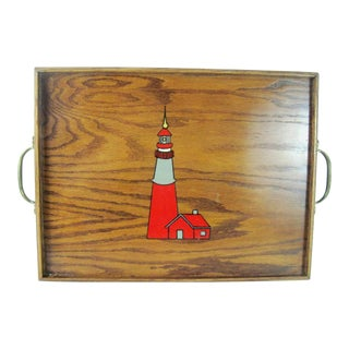 Lighthouse Wooden Serving Tray For Sale