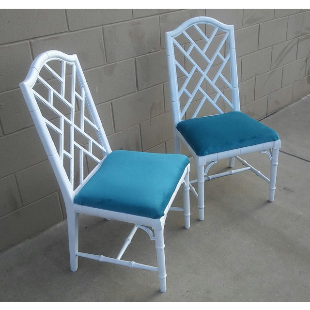 Century Chippendale White Faux Bamboo Chairs - a Pair - Image 4 of 10