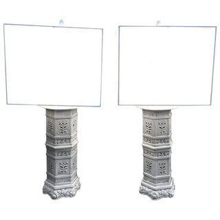 Asian Inspired Ceramic Lamps - A Pair For Sale