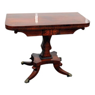 20th Century Regency Inlaid Flip Top Center Table For Sale