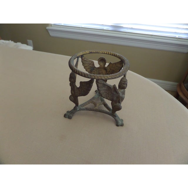 Gold Vintage Solid Brass Display Stand With 3 Cherubs, Loin's Feet and Braided Round Top For Sale - Image 8 of 8