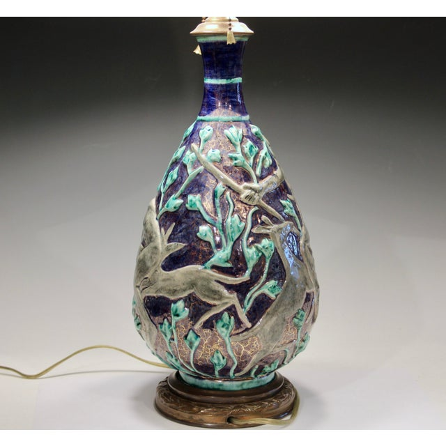 1920s Vintage 1920s Jean Mayodon French Art Deco Gilt Pottery Vase Lamp For Sale - Image 5 of 13
