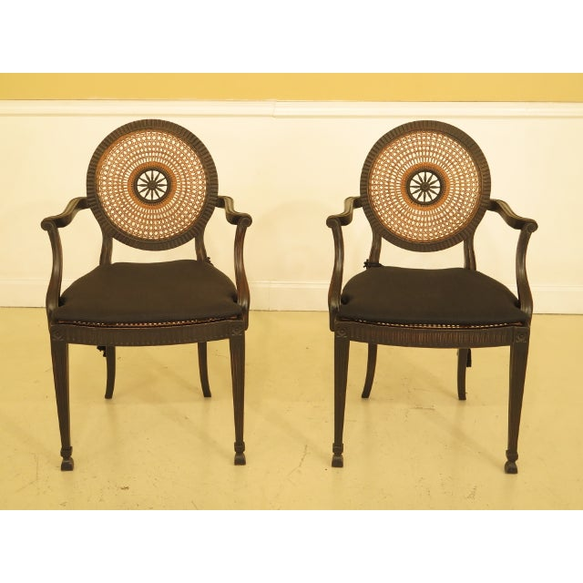 Adam Style Cane Back & Seat Arm Chairs - a Pair For Sale - Image 13 of 13