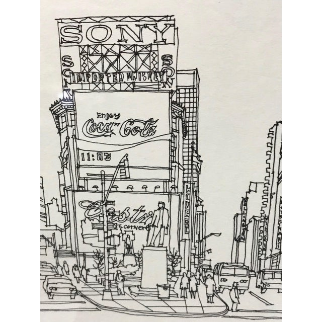 """""""Times Square, NYC 1978"""" Signed and Numbered Line Drawing by Richard Welling For Sale - Image 4 of 10"""
