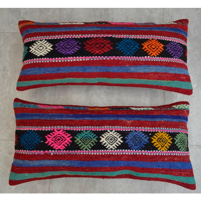 Vintage Turkish Kilim Lumbar Pillow Covers - A Pair For Sale - Image 4 of 6