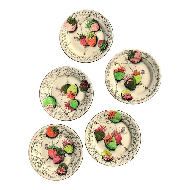 Vintage French Gien Strawberry Plates For Sale